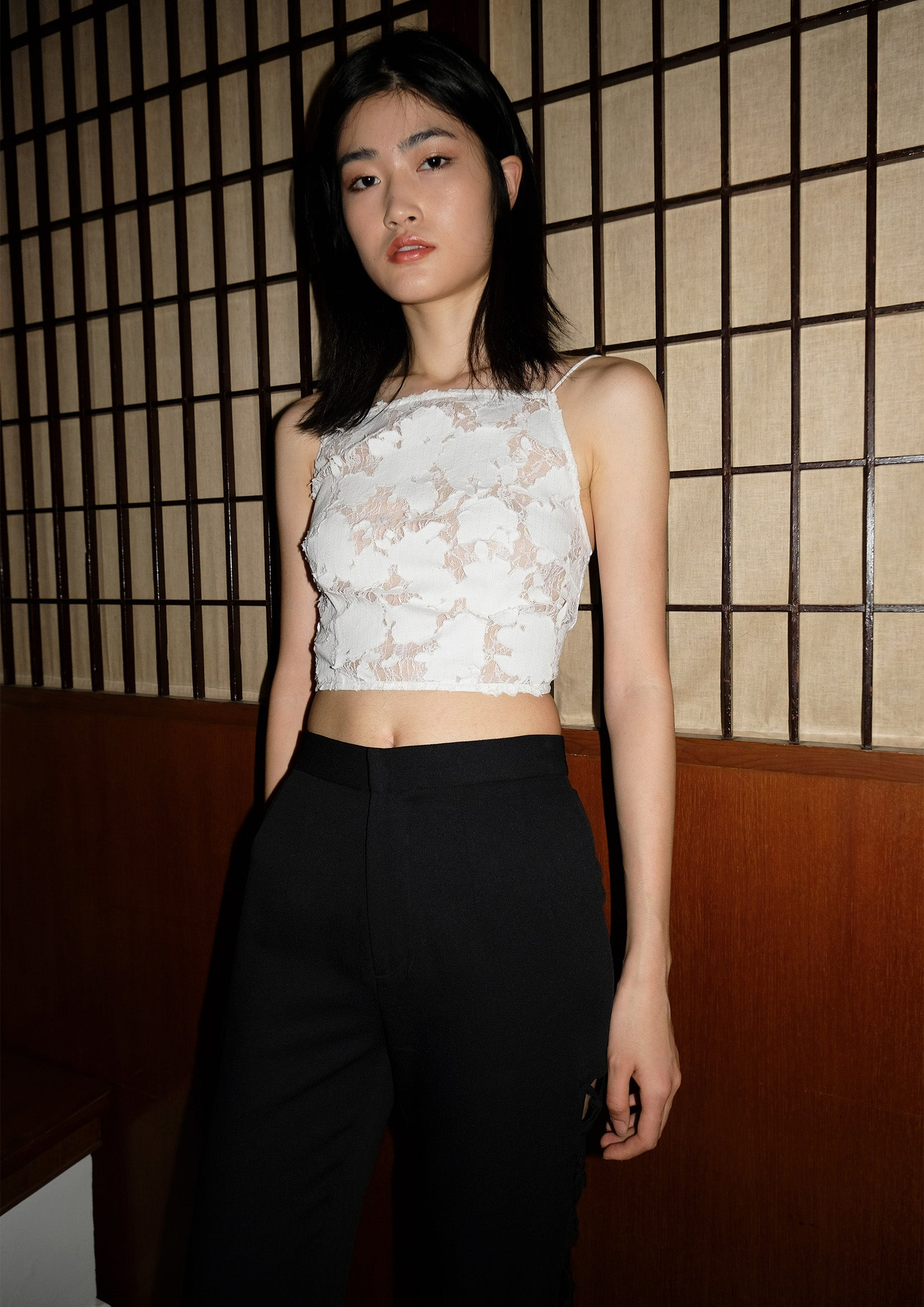 Floral lace see-through sling crop top in white