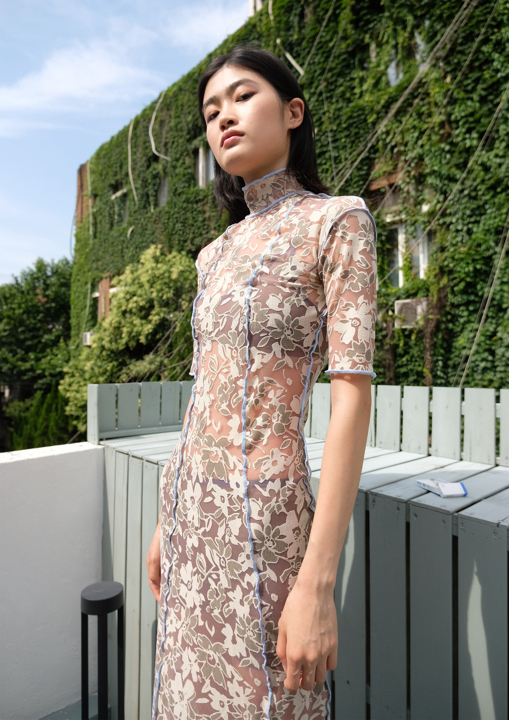Floral see-through mid sleeve slim-fit long dress