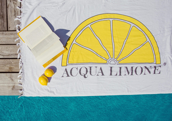 Beach Towel, White, O/S - Acqua Limone