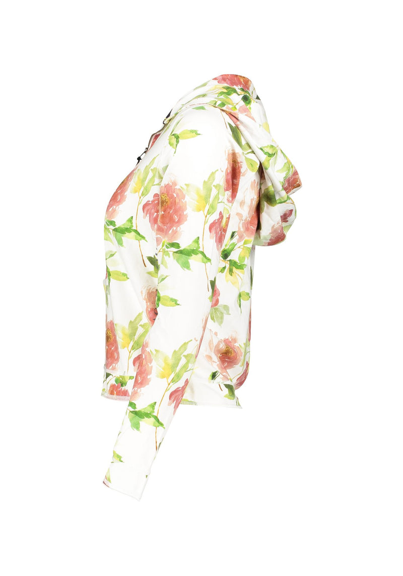 Donna Hood Jacket Co/Ly Flower Print XS/S - Acqua Limone