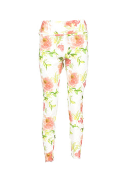 Donna Long Tights Co/Ly Flower Print. S/M - Acqua Limone