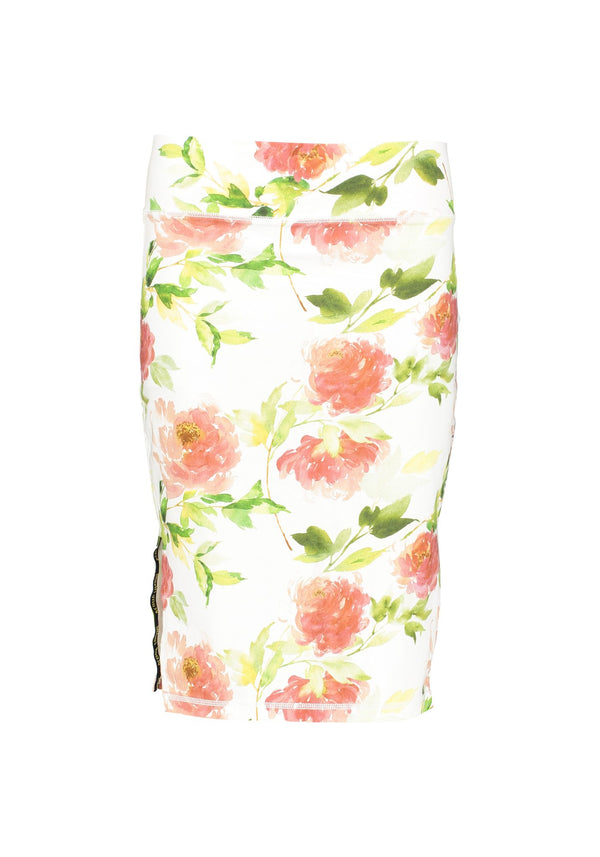 Donna Long Skirt Co/Ly Flower Print, S/M - Acqua Limone