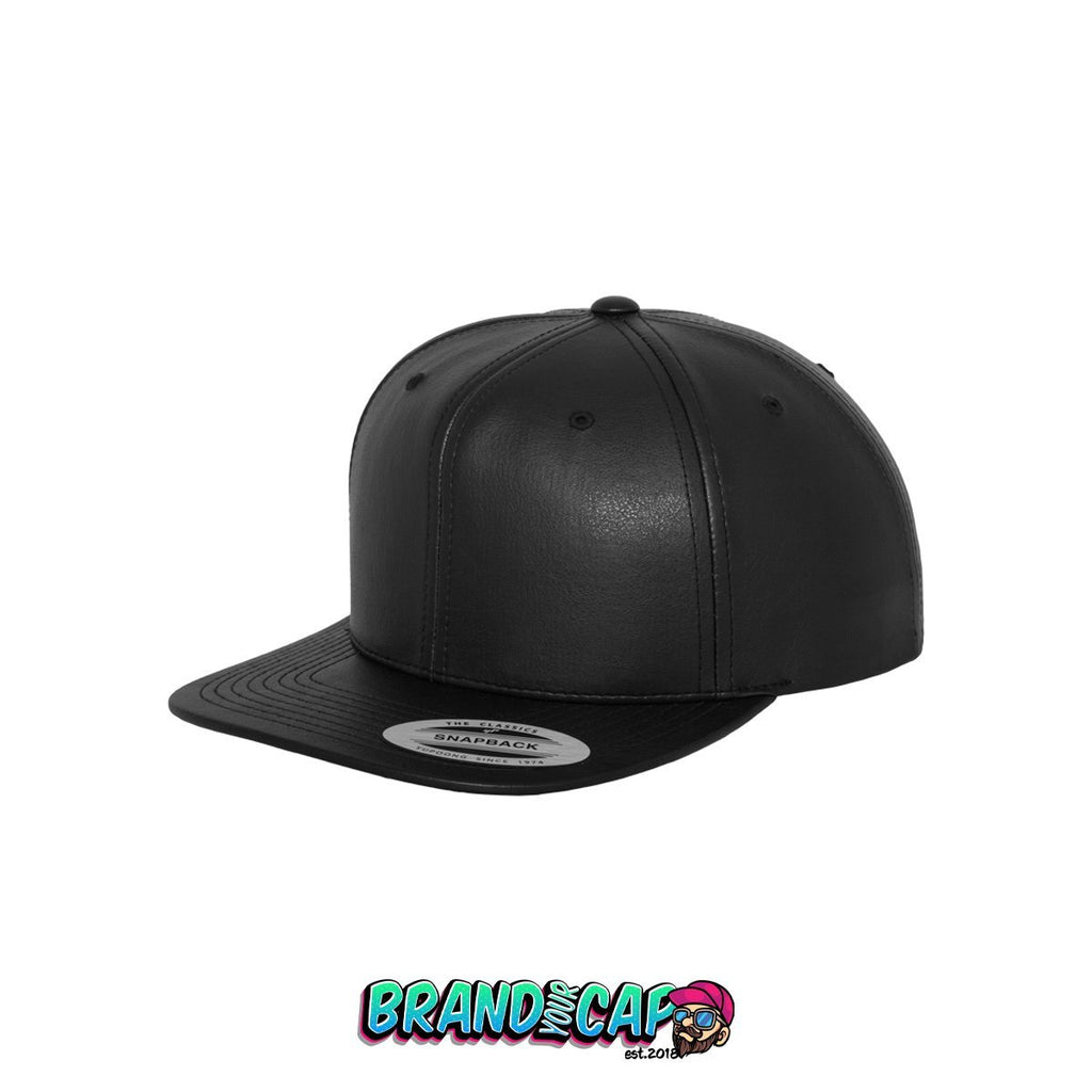 Full Leather Imitation Snapback - black - BrandyourCap.de