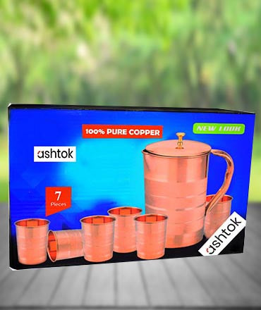 Buy Online Ashtok copper jug and glasses. Made of 100% pure Copper. Excellent to be used for drinking water on Daily Basis.Glossy Mirror finish polish. TRADITIONAL DESIGN is Very appealing and eye-catching as a home decor item.