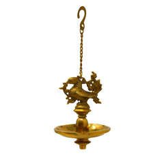 brass hanging oil lamp