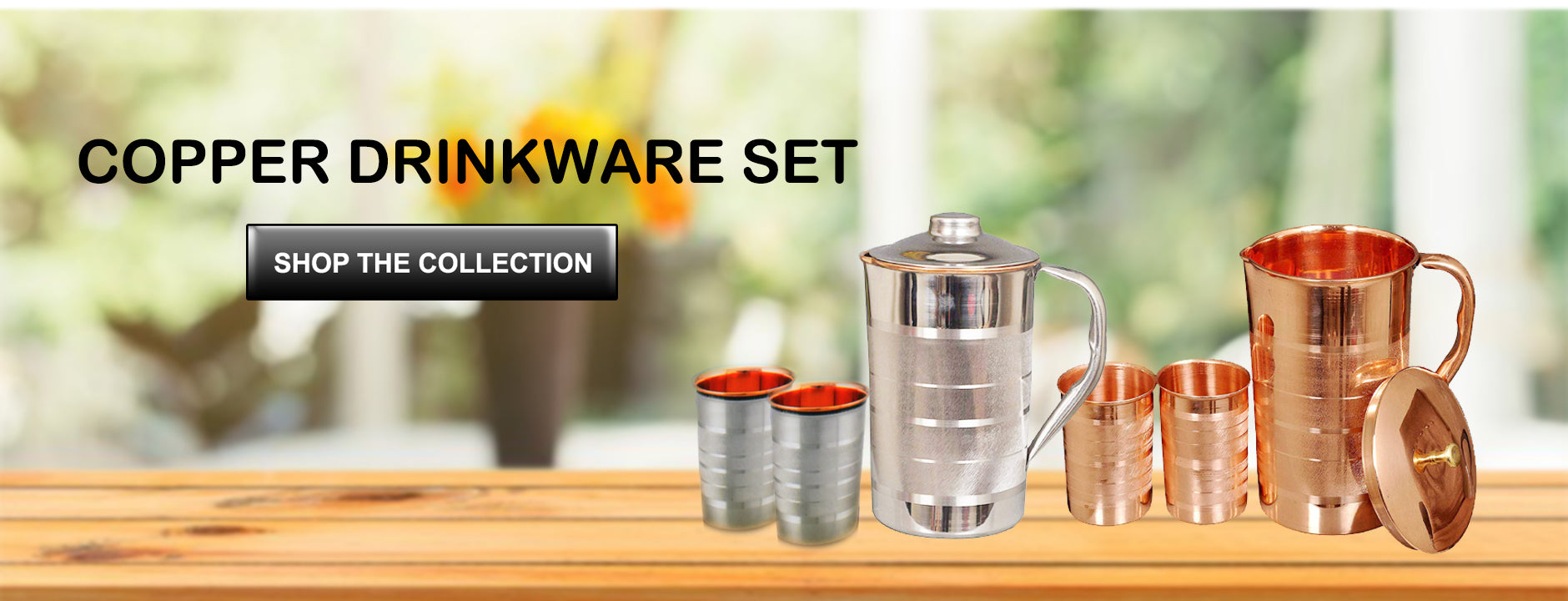 Buy Online Pure Copper water Jug set with 2 glasses at Nutristar. Make habit of drinking water stored in copper jug. Buy best price online copper jug with two glasses at reasonable price.