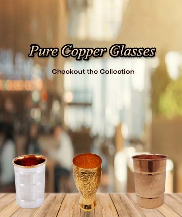 Buy Online Ashtok Pure Copper Glasses. Excellent to be used for drinking water on Daily Basis. Heavy Guage, glossy mirror polish.Special design for Serving Water effectively. Best Price Online copper glasses at affordable prices