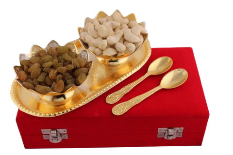 Brass Fruit Bowl with dry fruits for gifting