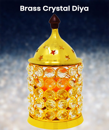 Buy online Brass crystal diya at Ashtok. Pure Brass Diya is used to decorate the home at diwali night. Buy best price online brass akhand diya.