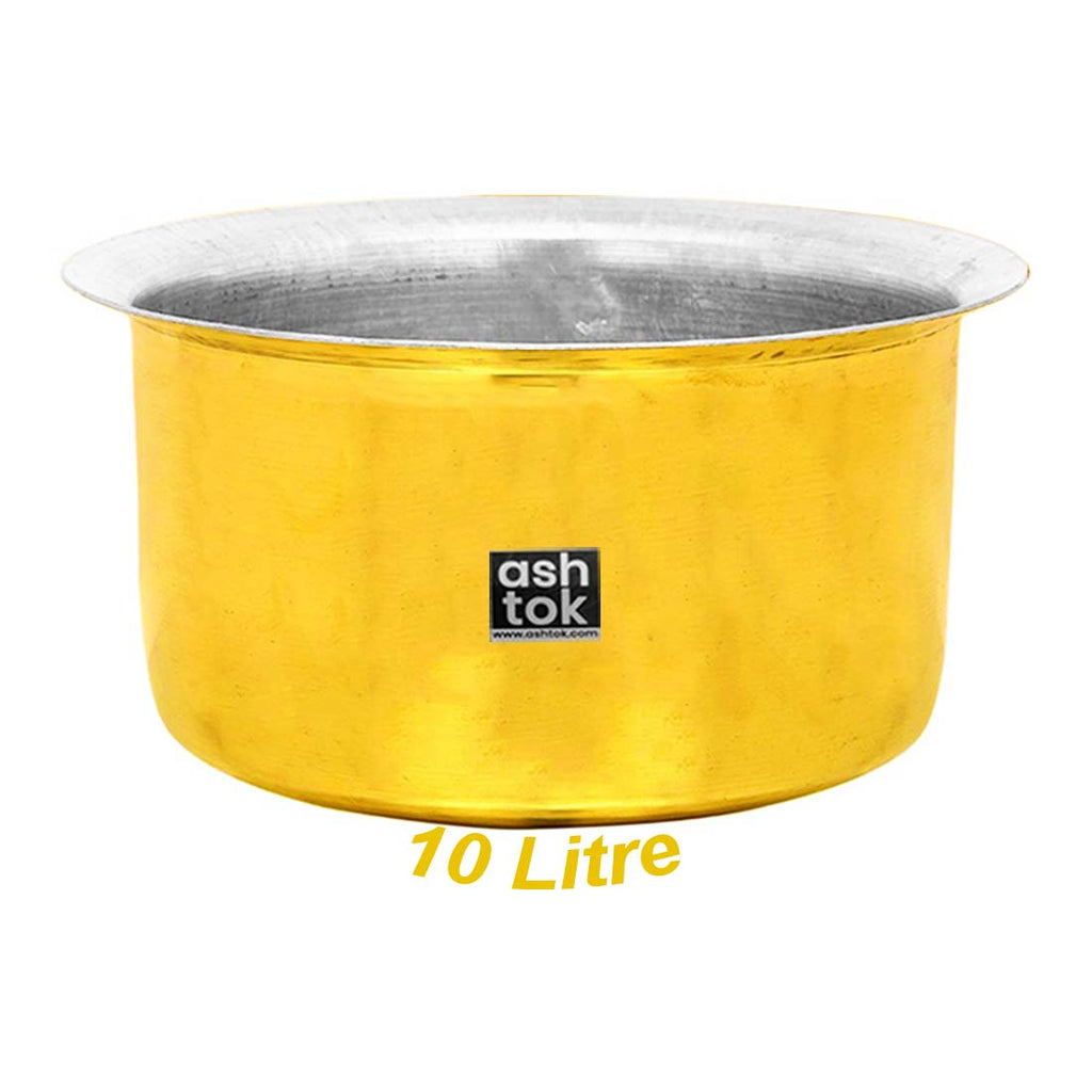 Brass Hammered khalai tin Coating cookware tope with lid | Brass Tope