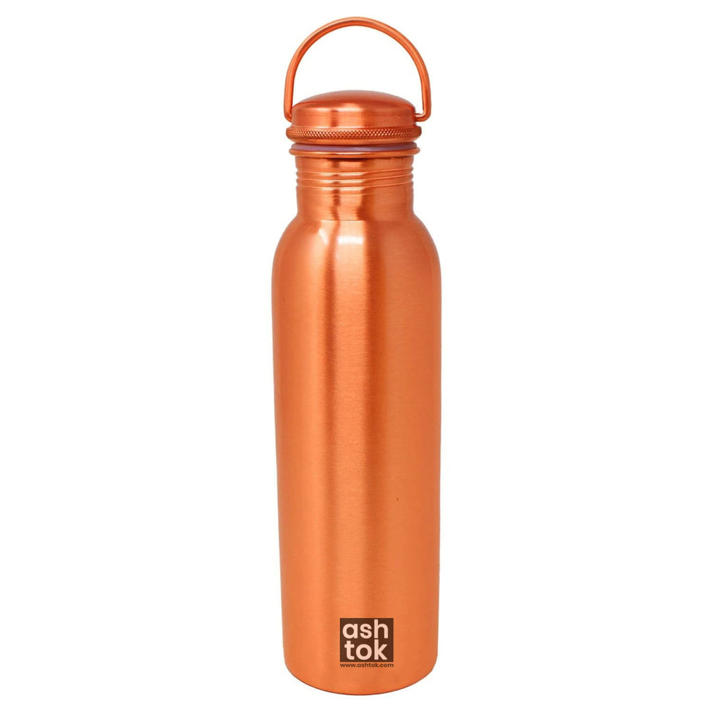 Ashtok Copper Water Bottle | Copper mat Finish Water Bottle with Utility Handle for Perfect Grip