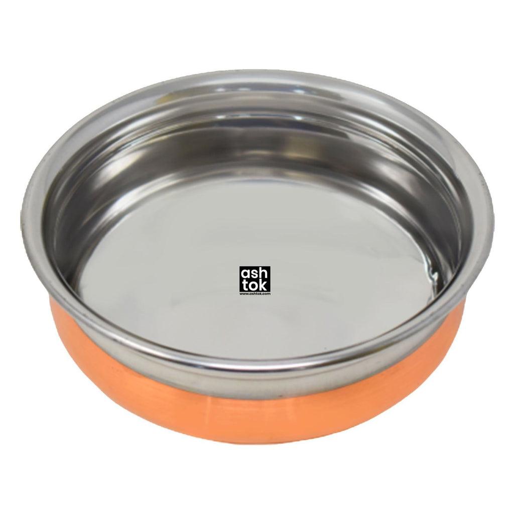 Stainless Steel Copper Bottom Handi Available Variants( 700ml, 1000ml, 1200ml) - ashtok