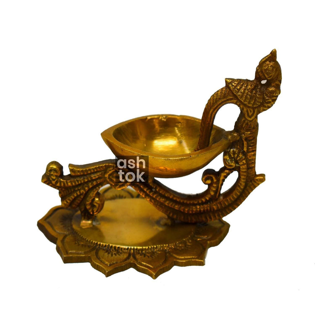 Brass Diya with Peacock Handle - ashtok