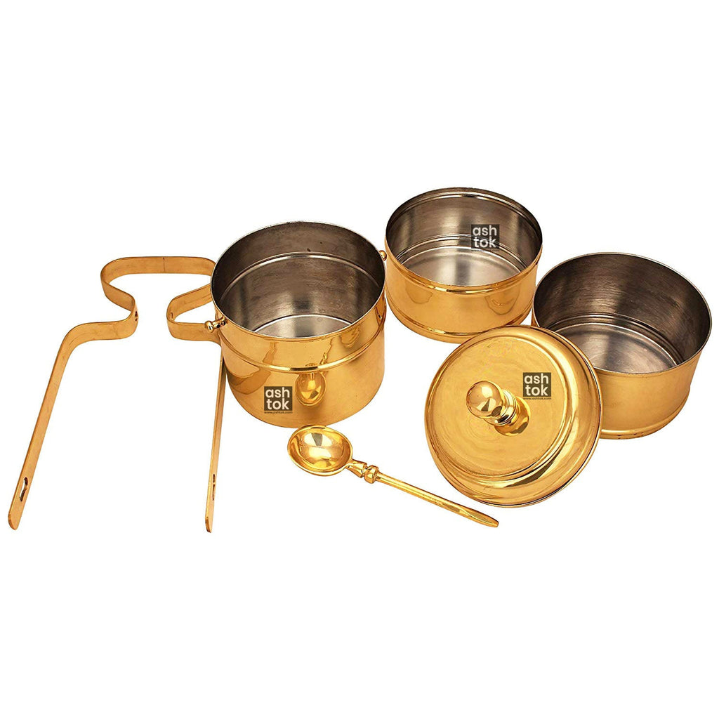 Brass 3 Tier Khalai Tin Coating Set of 3 Compartments with SERVING SPOON TO LOCK THE HANDLE (Set of 3 Brass Tiffin Box)