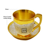 Gold and Silver Plated Brass Cup-Saucer Tea Set