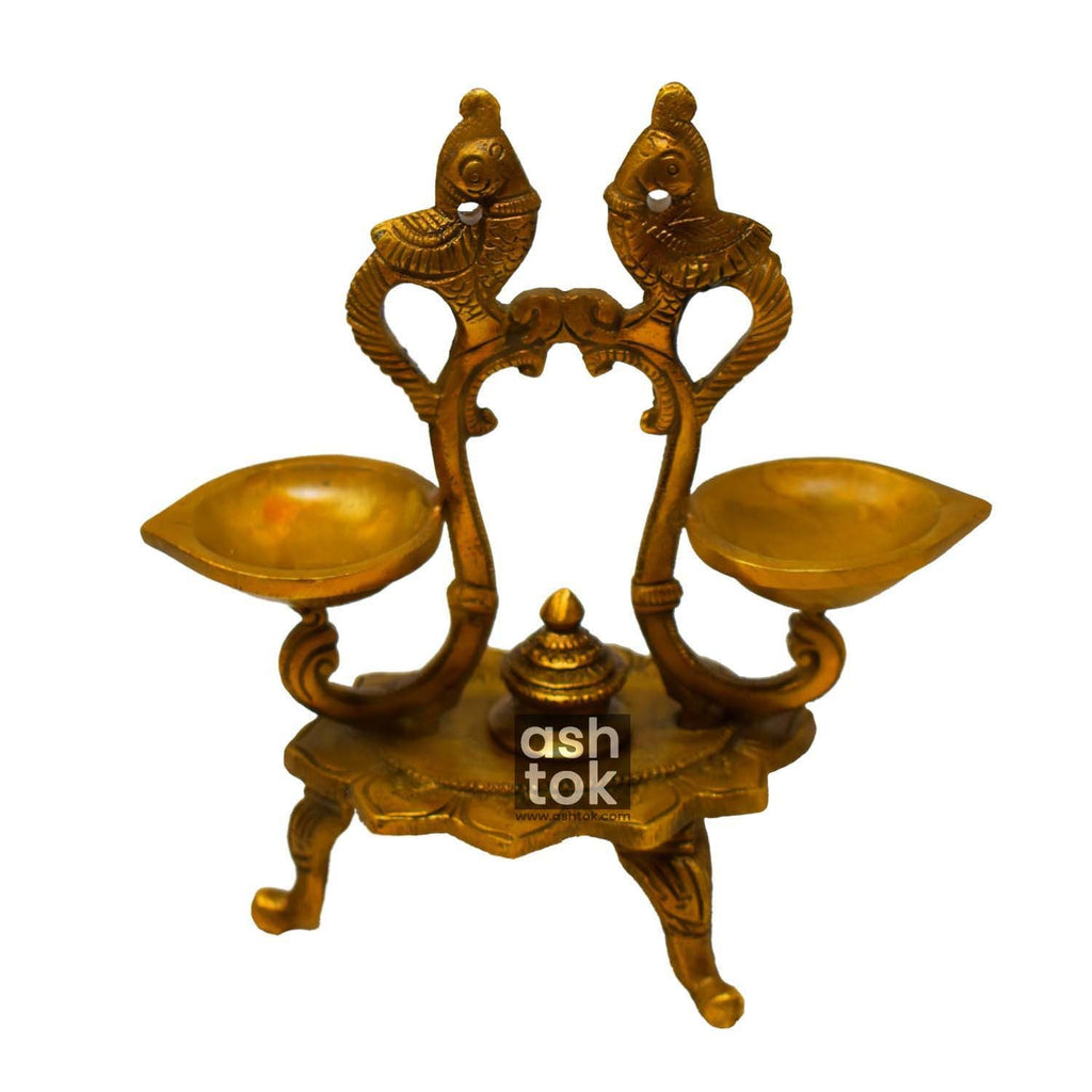Brass Diyas Attached with Stand - ashtok