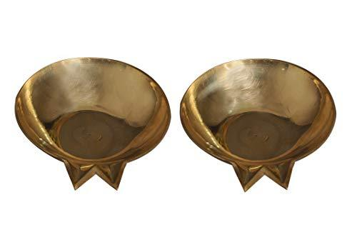 Pure Brass Diya |Brass Pankti | 2 SET | D = 9 cms - Ashtok