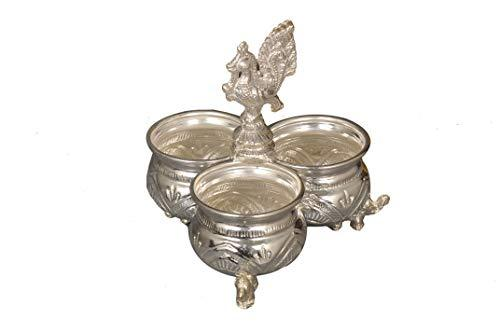 Handcrafted German Silver Chowpala Set of 3 Bowls Attached Together Height = 5 Inch Length = 5 Inch - Nutristar