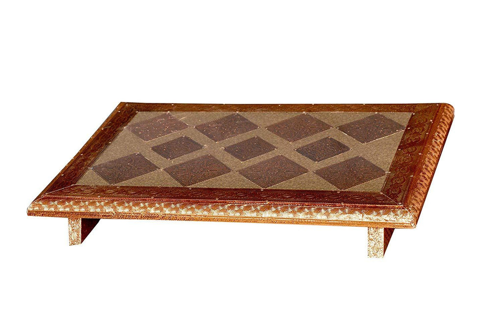 Rexine Laminated Wooden Puja Bajot, Chowki, Pita with Copper Beading Length = 12 Inch Breadth = 18 Inch Set of 2 Piece - ashtok