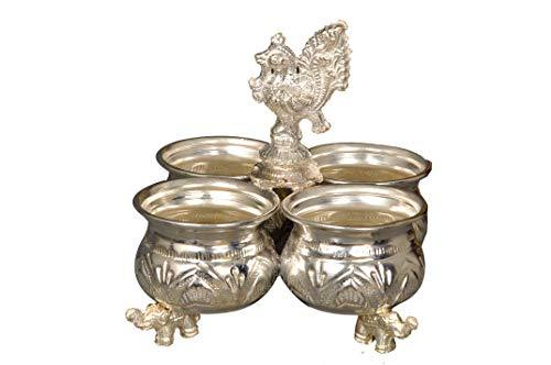 Handcrafted German Silver Chowpala Set of 4 Bowls Attached Togather Height = 5 Inch Length = 5 Inch - Nutristar