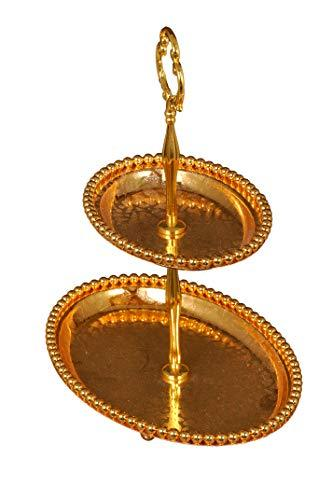 Gold Plated Metal Designer Fancy Fruit Basket Stand Oval Shape 2 Step. - Nutristar