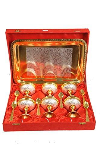 Pure Brass Ice cream cups, Tray and spoons Set of 6 Glasses and Tray in Red Gift Box - Ashtok