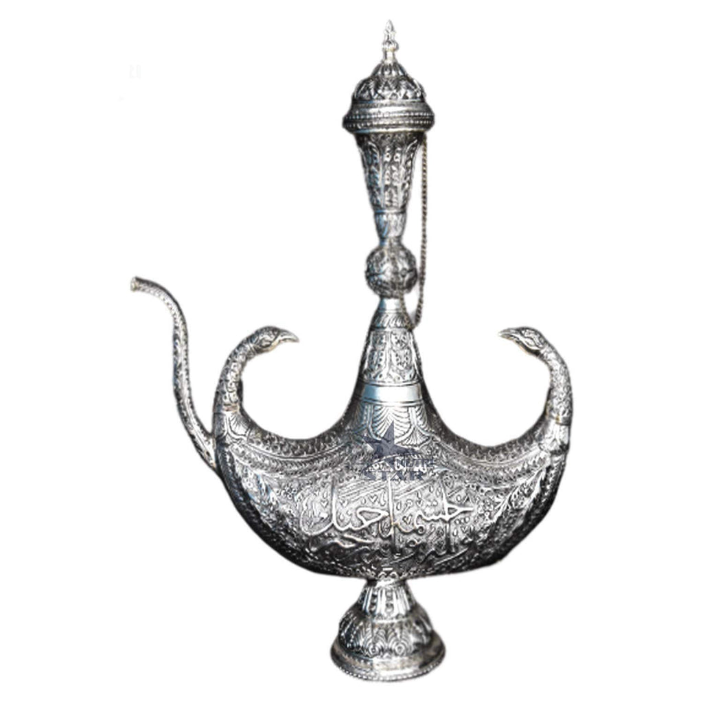 Hand Crafted Aftaba Showpiece with Nakkashi Design. Pure Copper Silver Coated Surhai mughul era- Showpiece for Home Decor. 7