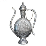 Hand Crafted Aftaba Showpiece with Nakkashi Design | Pure Copper Silver Coated Surhai mughul era- Showpiece for Home Decor.
