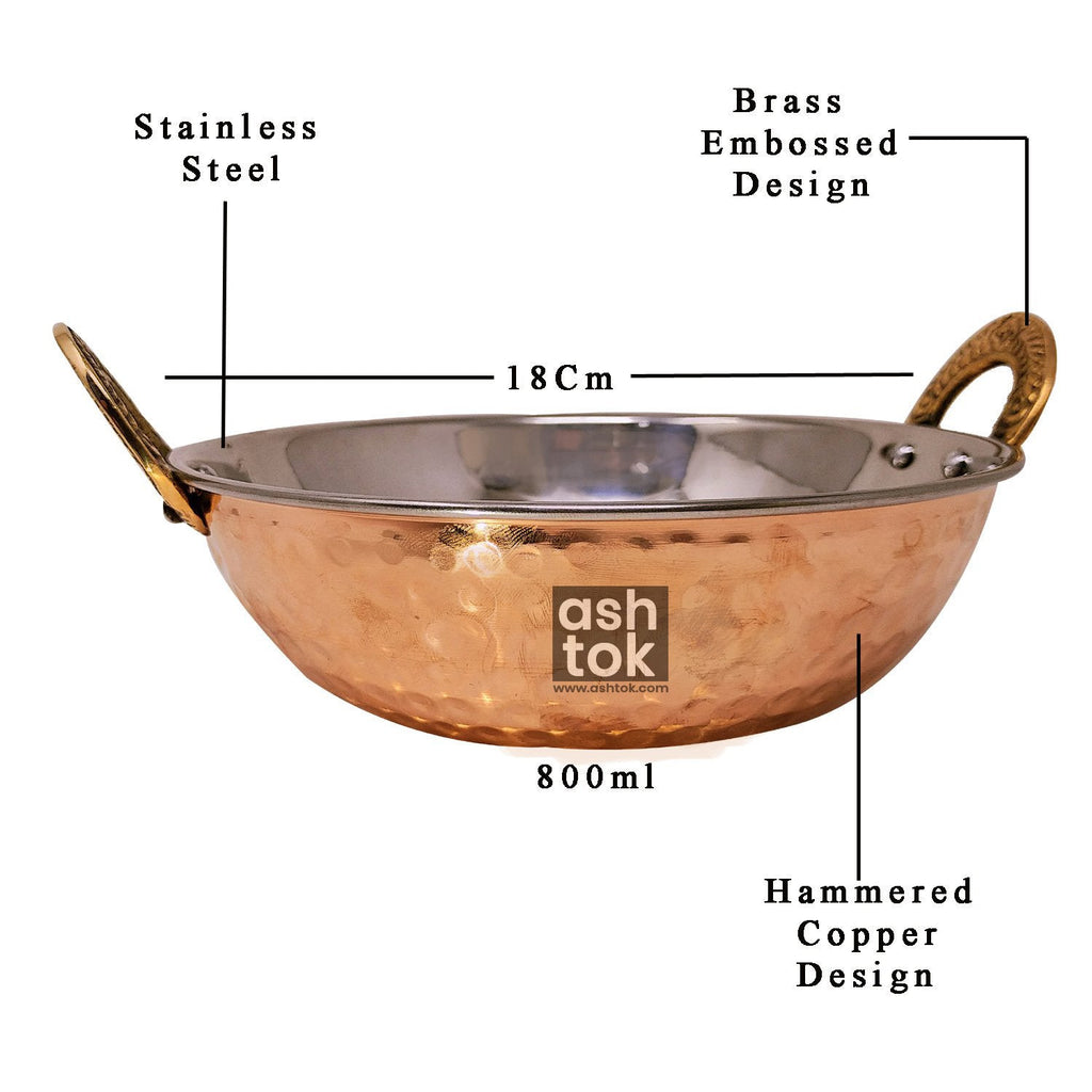 Hammered Stainless Steel Copper Kadai