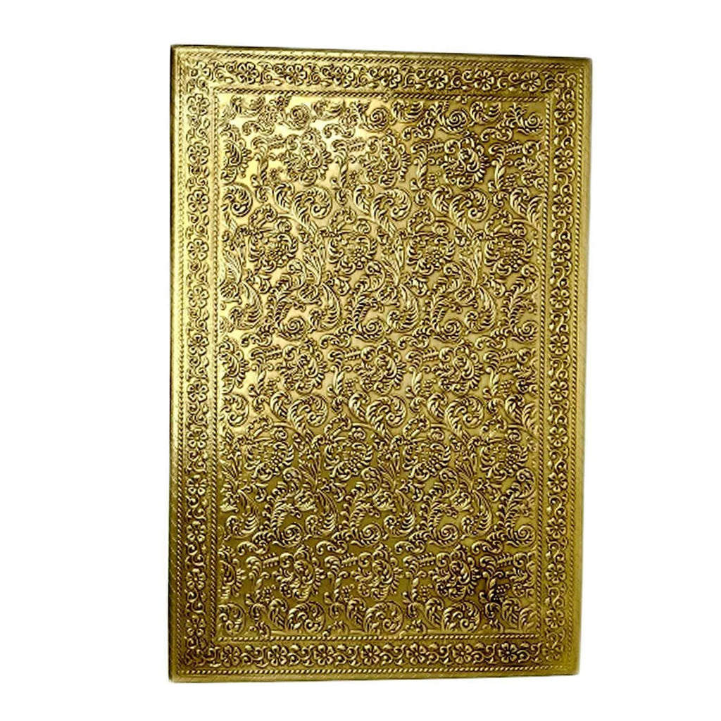 Chowki for Puja | Pure Brass Sheet Handcrafted Chowki | 4 Sided Rectangle Chowki Size = 21 Inch x 15 Inch Height = 6 Inch
