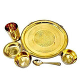 Ashtok Pure Brass Dinner Thali Set of 6 Pieces. Export Quality