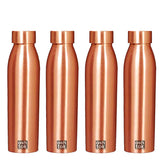 Copper Bottles for Water 1 Litre | Copper Water Bottle 1 Litre Set of 4
