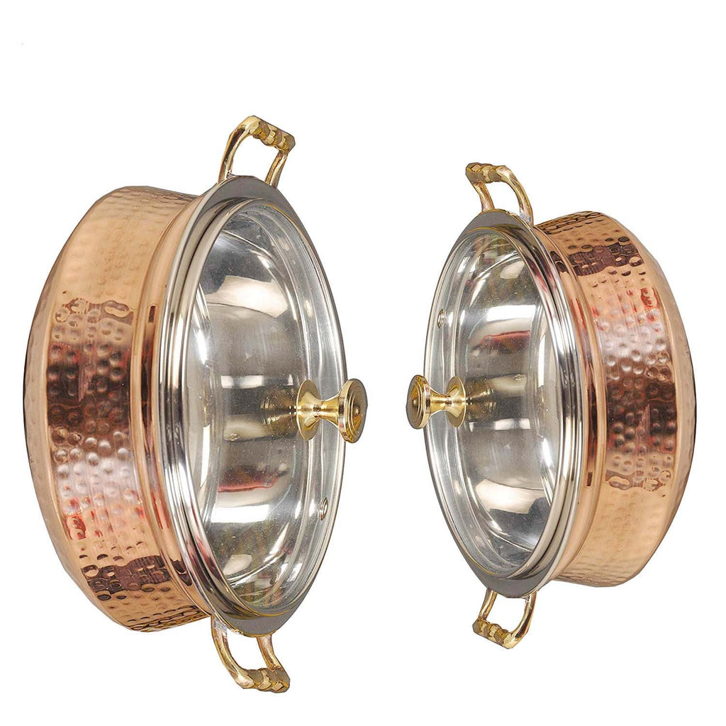 Copper Handi With Glass Lid | Set Of Copper Serving Bowls | Capacity 500ml and 250 ml