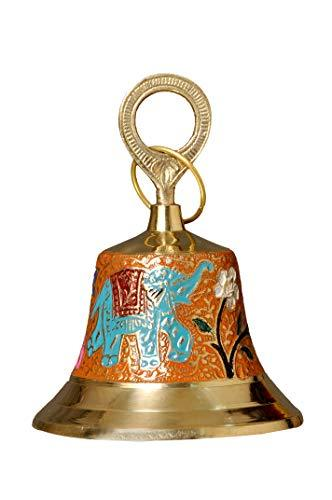 Ashtokstar Pure Brass Antique Looking Colorful Handcrafted Hanging Bell - Ashtok
