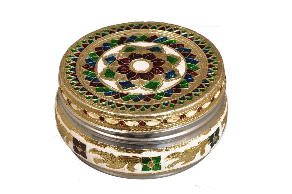 Stainless Steel Brass Mina Handcraft Puri unch Box (Multicolour) - ashtok