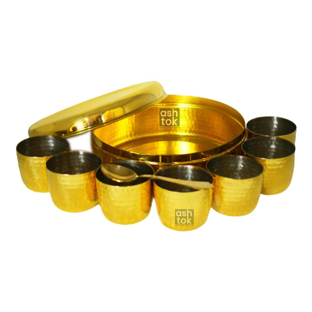 Brass Masala Box with Khalai (tin) Inside Bowls with Spoon | Brass Spice Box