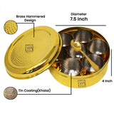 Brass Masala Box with Khalai (tin) Inside Bowls with Spoon | Brass Spice Box Diameter(7.5, 8.5 Inch)