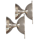 Silver Coated Brass Rose Diya (Set of 2) Height = 2 Inch - ashtok