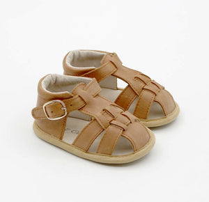Benji Soft Sole Genuine Leather Sandals CLOSED BACK - Almond.