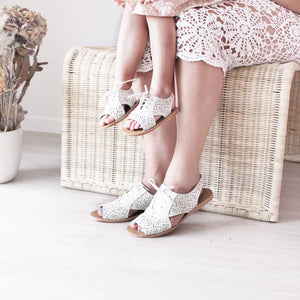 Lacey Hard Sole Genuine Leather Sandals - Porcelain