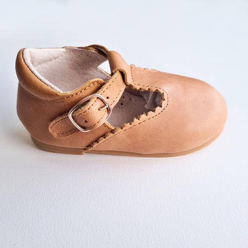 Indi Hard Sole Genuine Leather T-bar - Gingerbread  RESTOCKED
