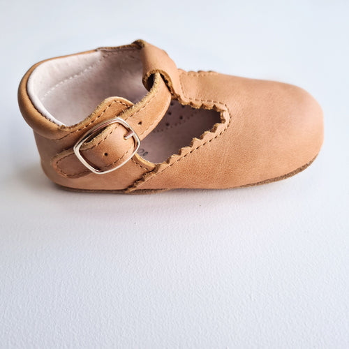 Indi Soft Sole Genuine Leather T-bar - Gingerbread RESTOCKED