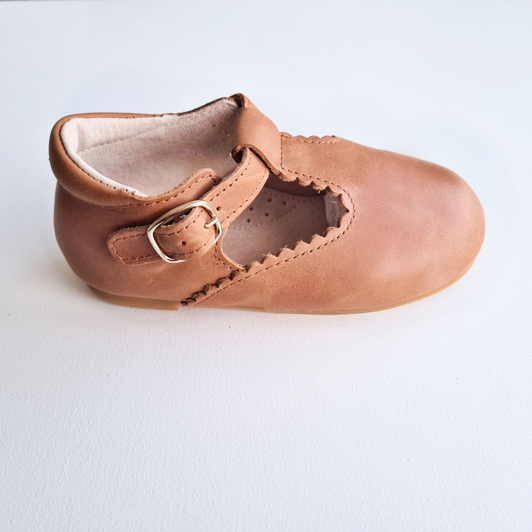 Indi Hard Sole Genuine Leather T-bar - Almond RESTOCKED