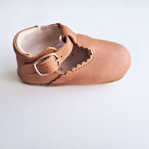 Indi Soft Sole Genuine Leather T-bar - Almond RESTOCKED