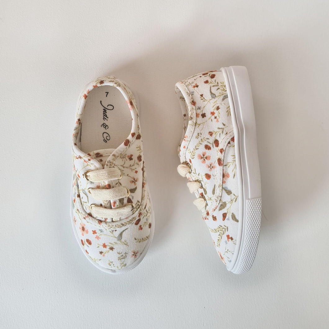 Spring Floral Canvas Sneakers - Hard Sole