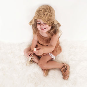 Simple Sun hat - Scallop edges 1.5-4years