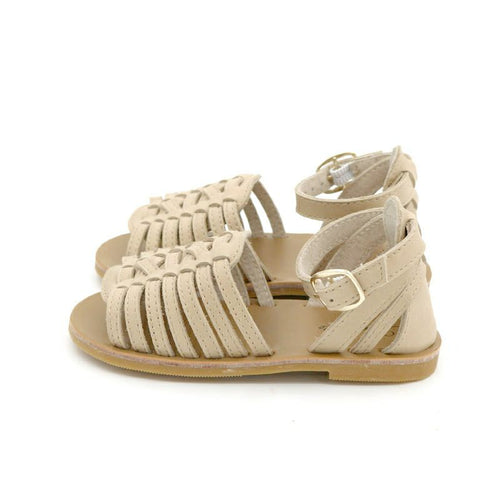 Ariel Hard Sole Genuine Leather Sandals - Champagne.