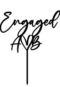 Engaged Heart Initials - Cake Topper