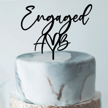 Load image into Gallery viewer, Engaged Heart Initials - Cake Topper