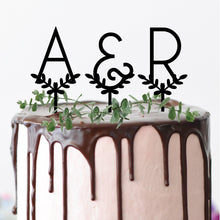 Load image into Gallery viewer, Leafy Initials - Cake Topper